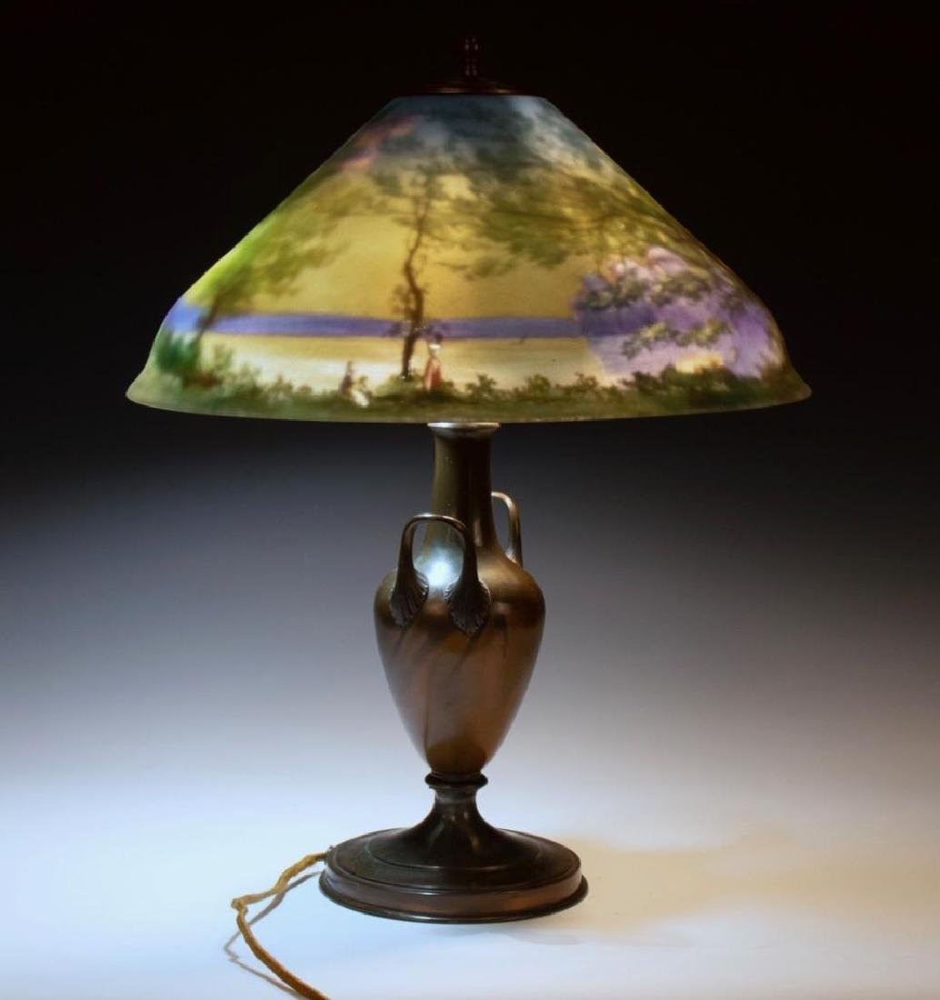 Pairpoint Reverse Painted Table Lamp, Signed G.Morley - 8