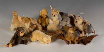 Lot of Eight Steiff Animals