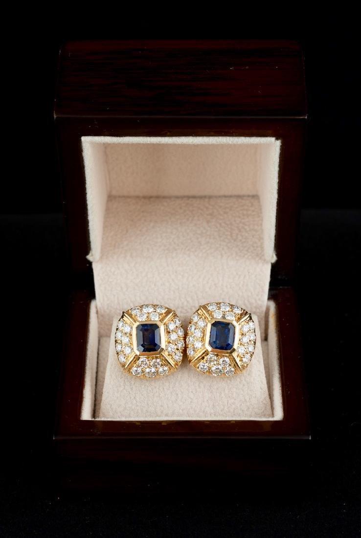Saphire and Diamond Earrings