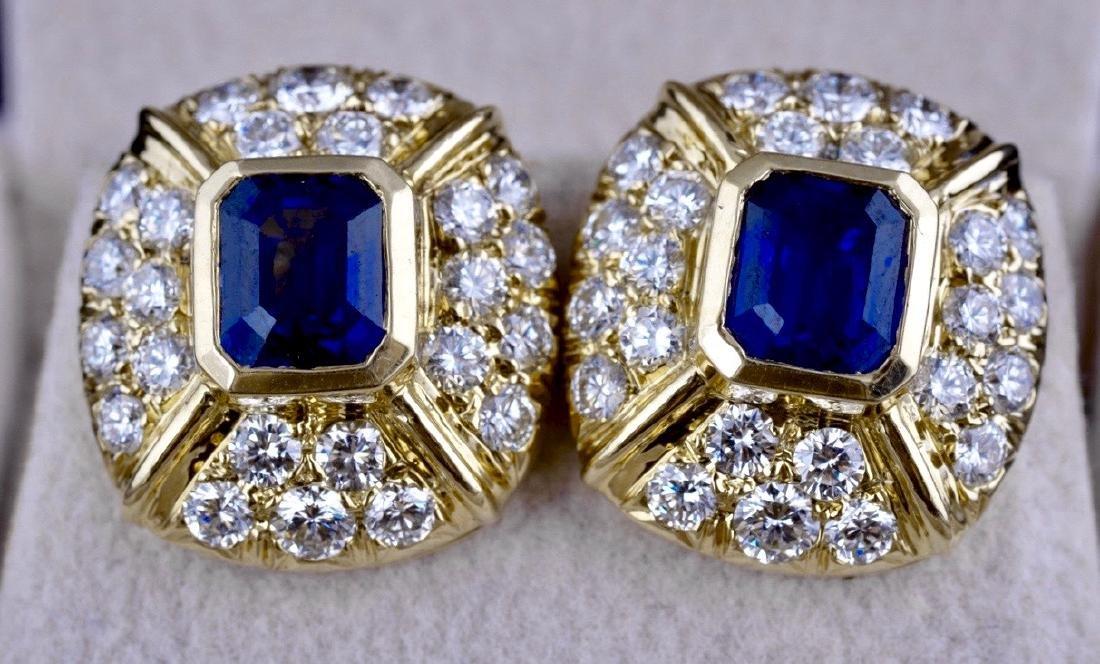 Saphire and Diamond Earrings - 2