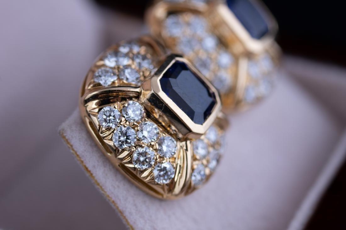 Saphire and Diamond Earrings - 3