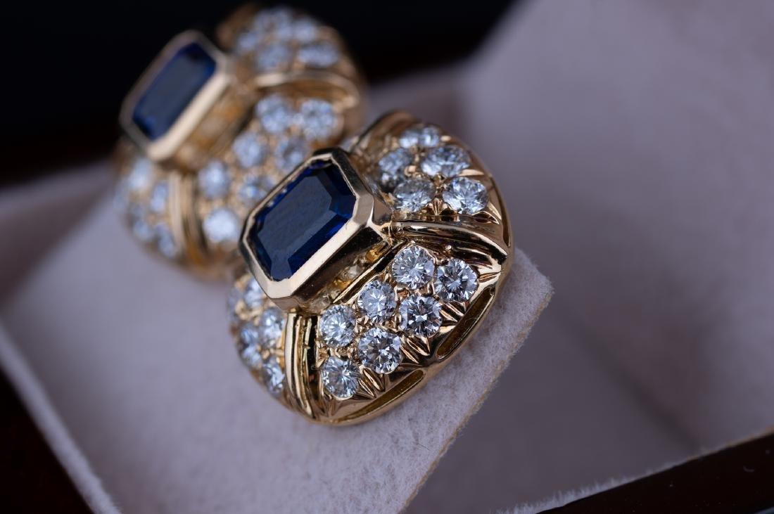Saphire and Diamond Earrings - 4