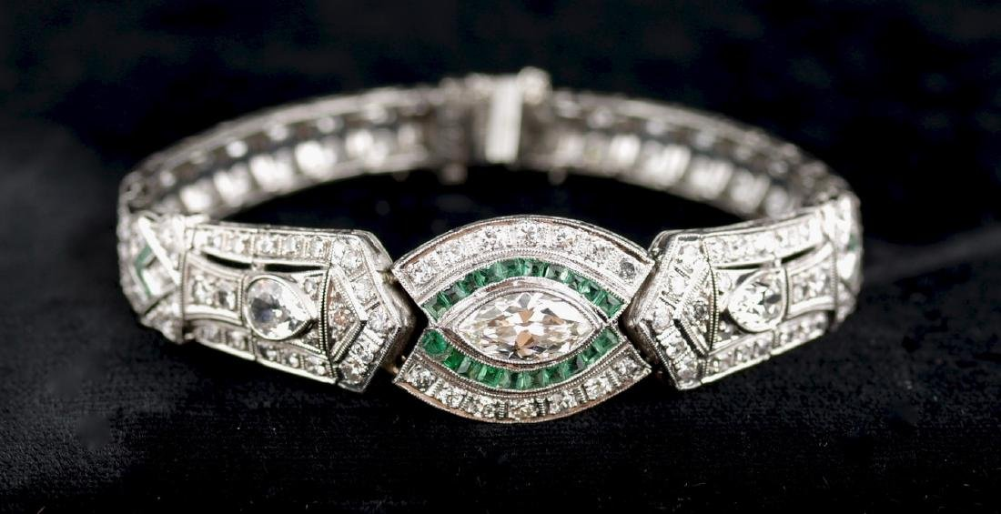 Diamond and Emerald Deco Style Bracelet
