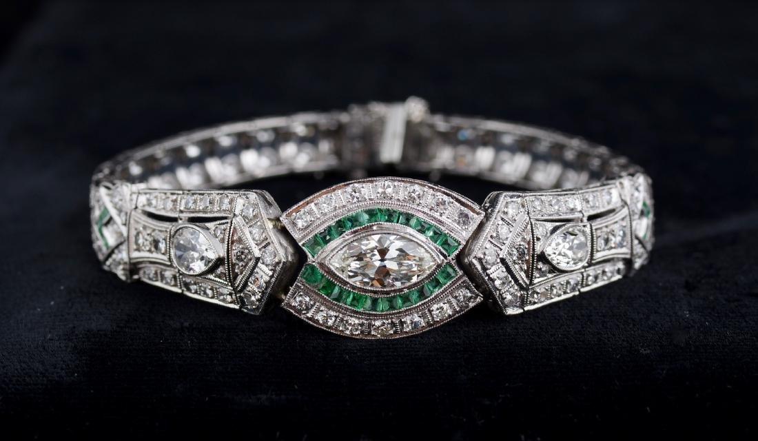 Diamond and Emerald Deco Style Bracelet - 2