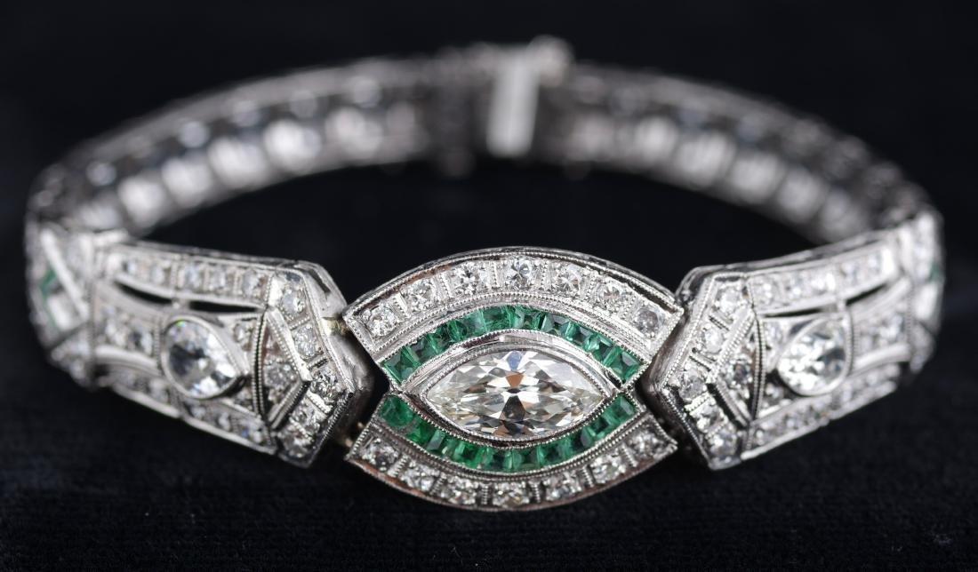 Diamond and Emerald Deco Style Bracelet - 3