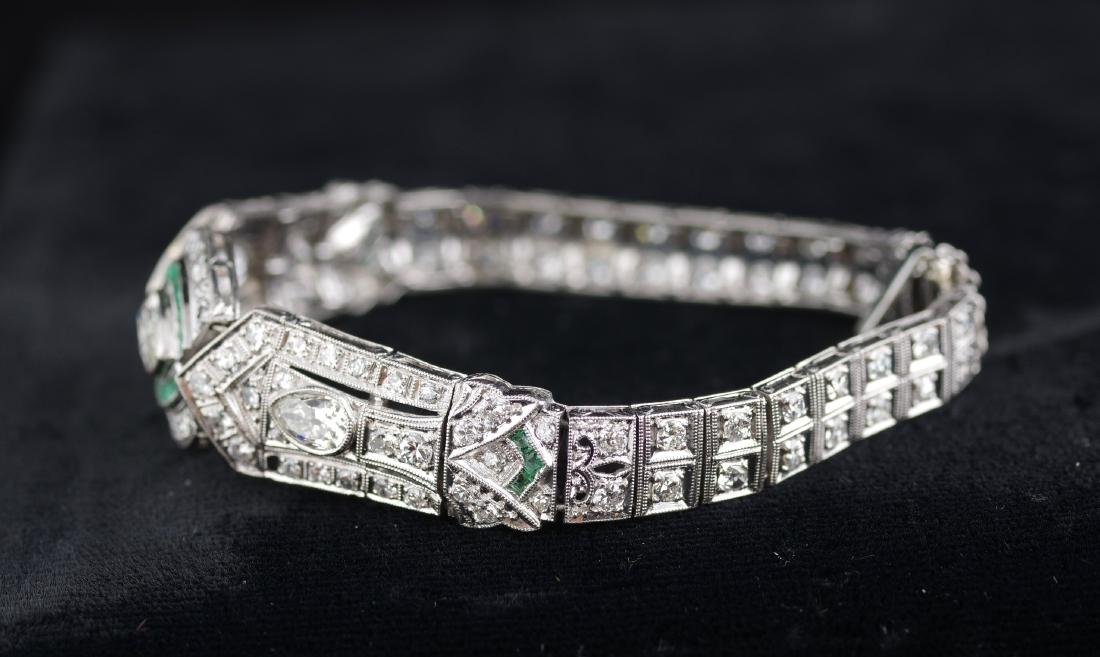 Diamond and Emerald Deco Style Bracelet - 4