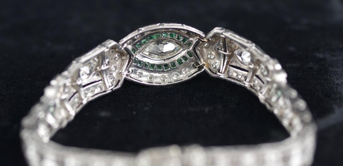 Diamond and Emerald Deco Style Bracelet - 5