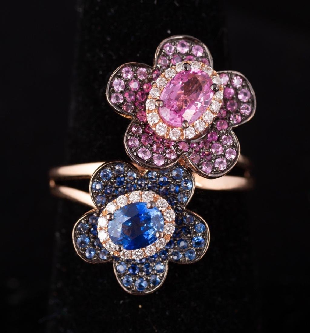 Sapphire and Diamond Double Flower Ring