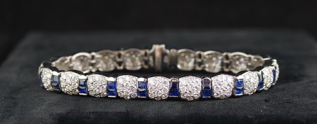 Sapphire and Diamond Platinum Link Bracelet