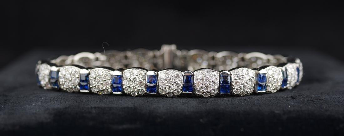 Sapphire and Diamond Platinum Link Bracelet - 2