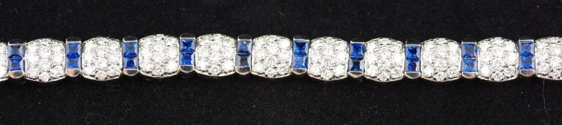 Sapphire and Diamond Platinum Link Bracelet - 6