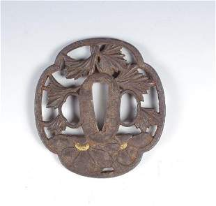 Iron Tsuba with Poppy Design