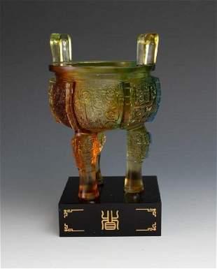 LiuLi Gong Fang Art Glass Studio Ding, 20th cen.
