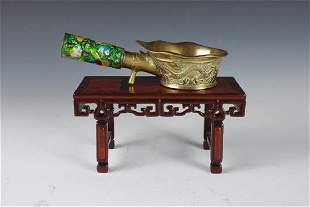 Chinese Brass and Enamel Wine Cup and Teak Stand