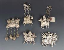 Five Large Chinese Pendant-Chatelaines Horse and Riders