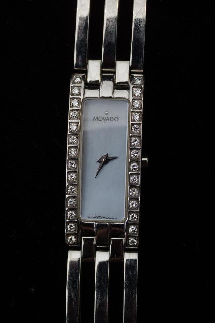 Stainless Steel Movado Esperanza Baguette Ladies Watch - 3