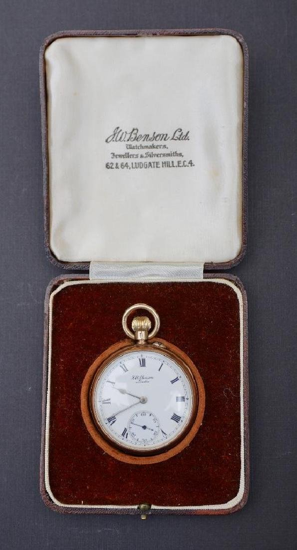 J.W.Benson 9K Yellow Gold Pocket Watch, London