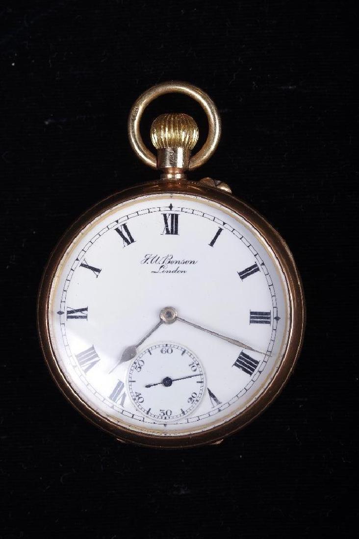 J.W.Benson 9K Yellow Gold Pocket Watch, London - 2