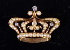 Edwardian 14K Yellow Gold and Diamond Crown Brooch