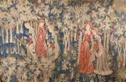 Flemish Mille Fleur Style Hand Woven Tapestry,
