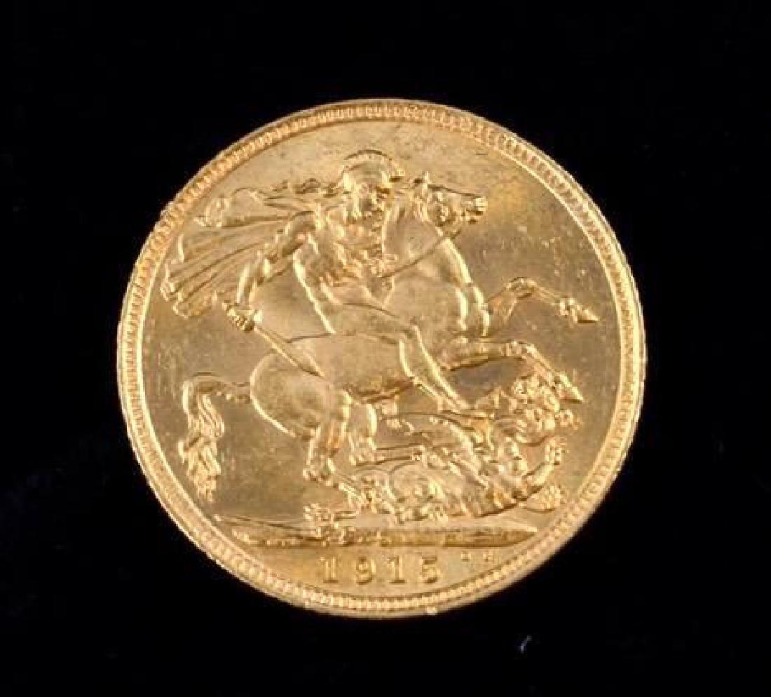 1915 George V Sovereign 22K Gold Coin - 2