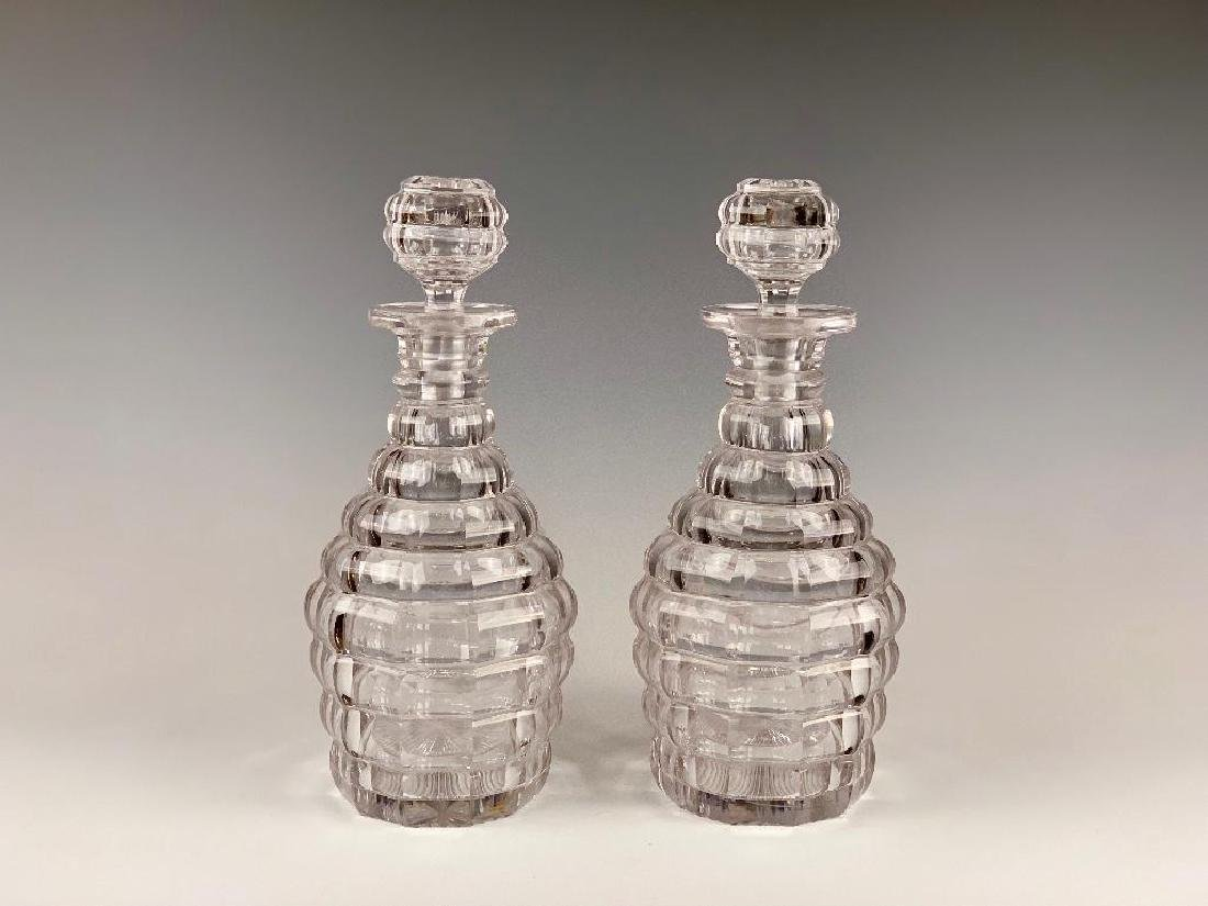 Pair of Heavy Cut Crystal Faceted Decanters