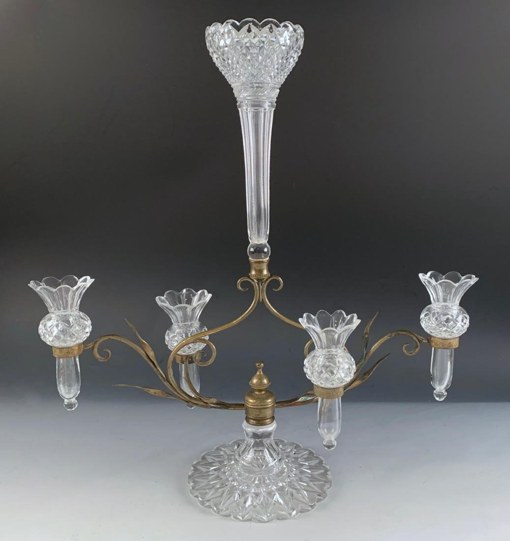 Victorian Cut Glass and Brass Epergne