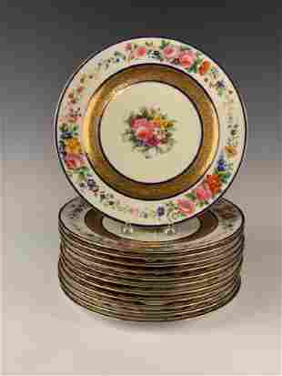 12 Limoges Hand Painted Dinner Plates