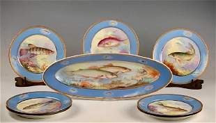 Limoges Hand Painted Fish Service