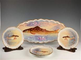 Limoges Fish Platter and Four Plates