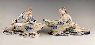 Pair of Sitzendorf Porcelain Figural Sweetmeat Dishes