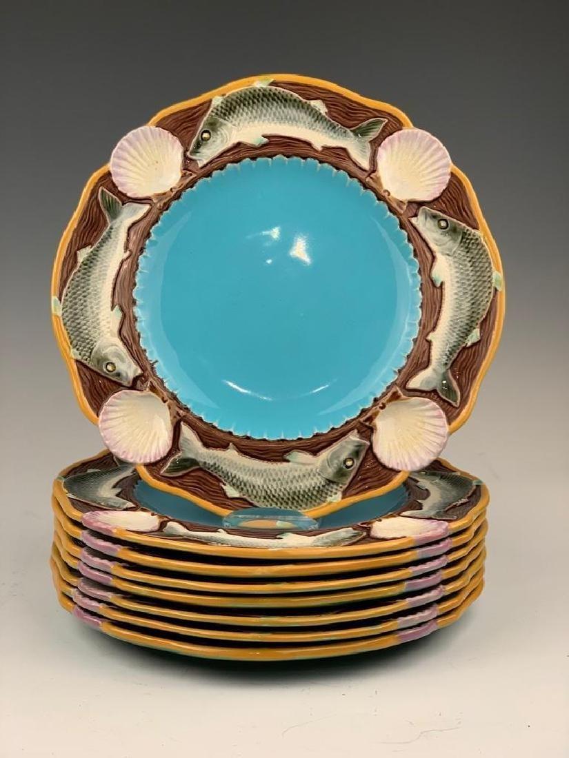 8 Minton Majolica Plates, Fish Design