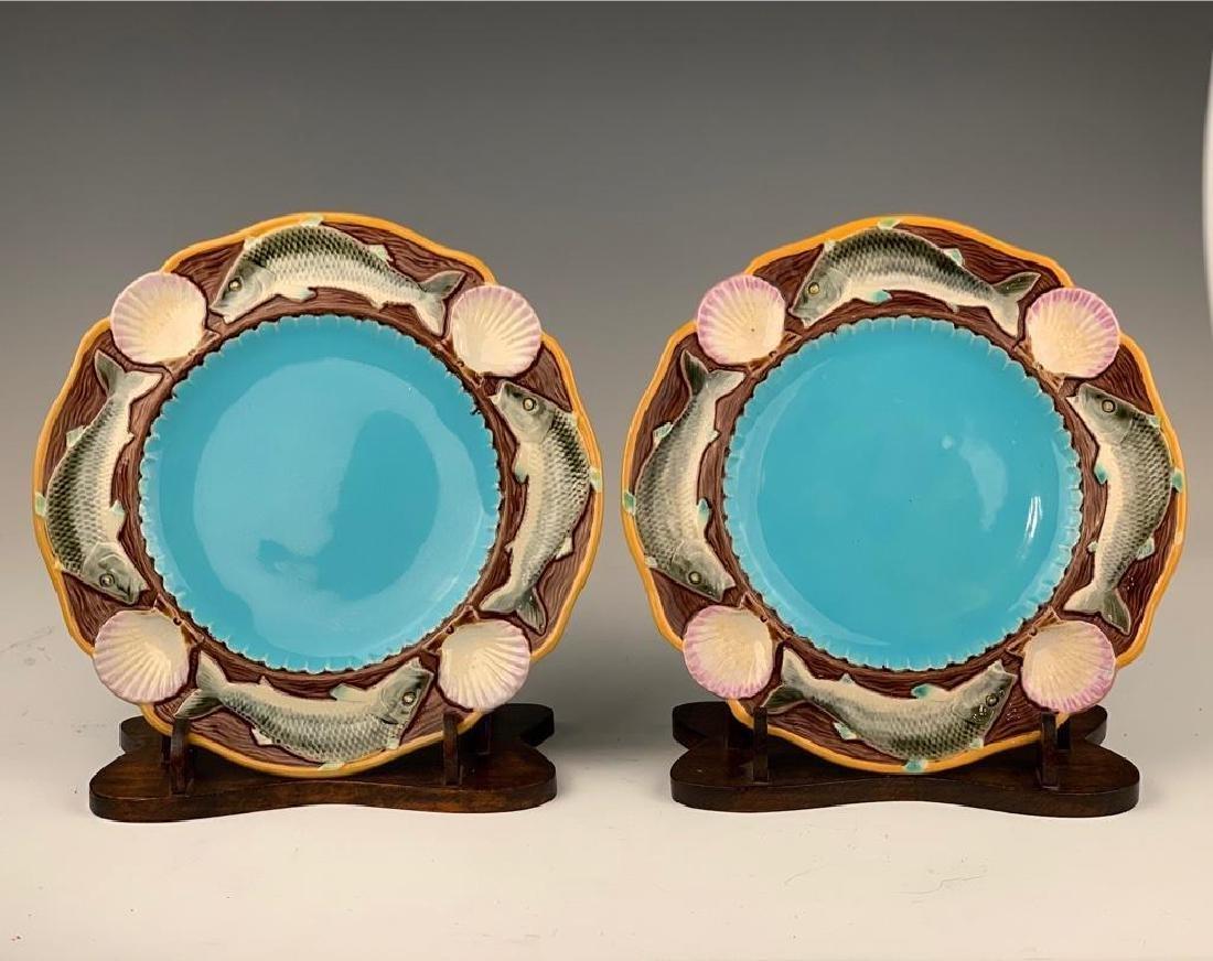 8 Minton Majolica Plates, Fish Design - 2