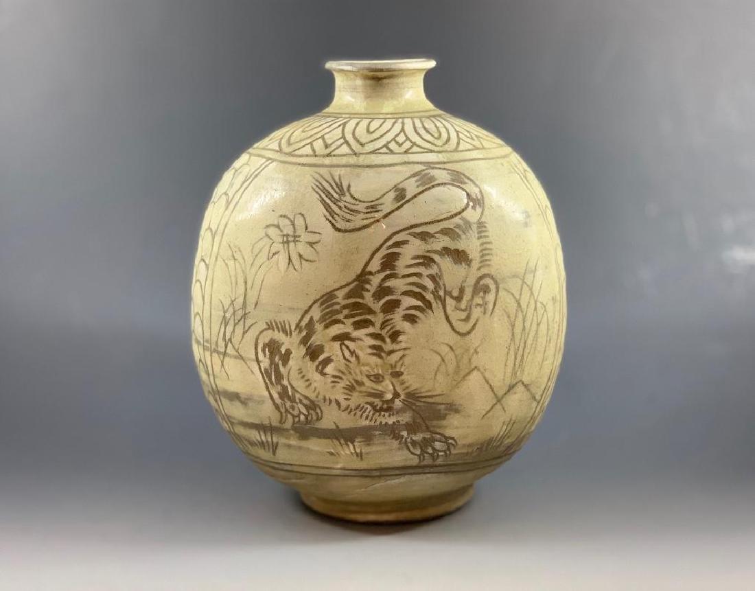 Korean Celadon Tiger Vase