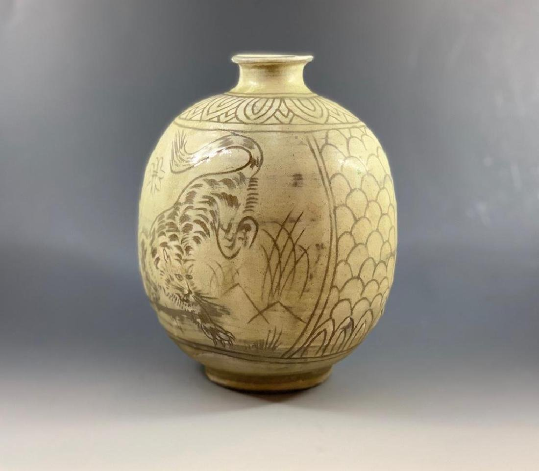 Korean Celadon Tiger Vase - 2