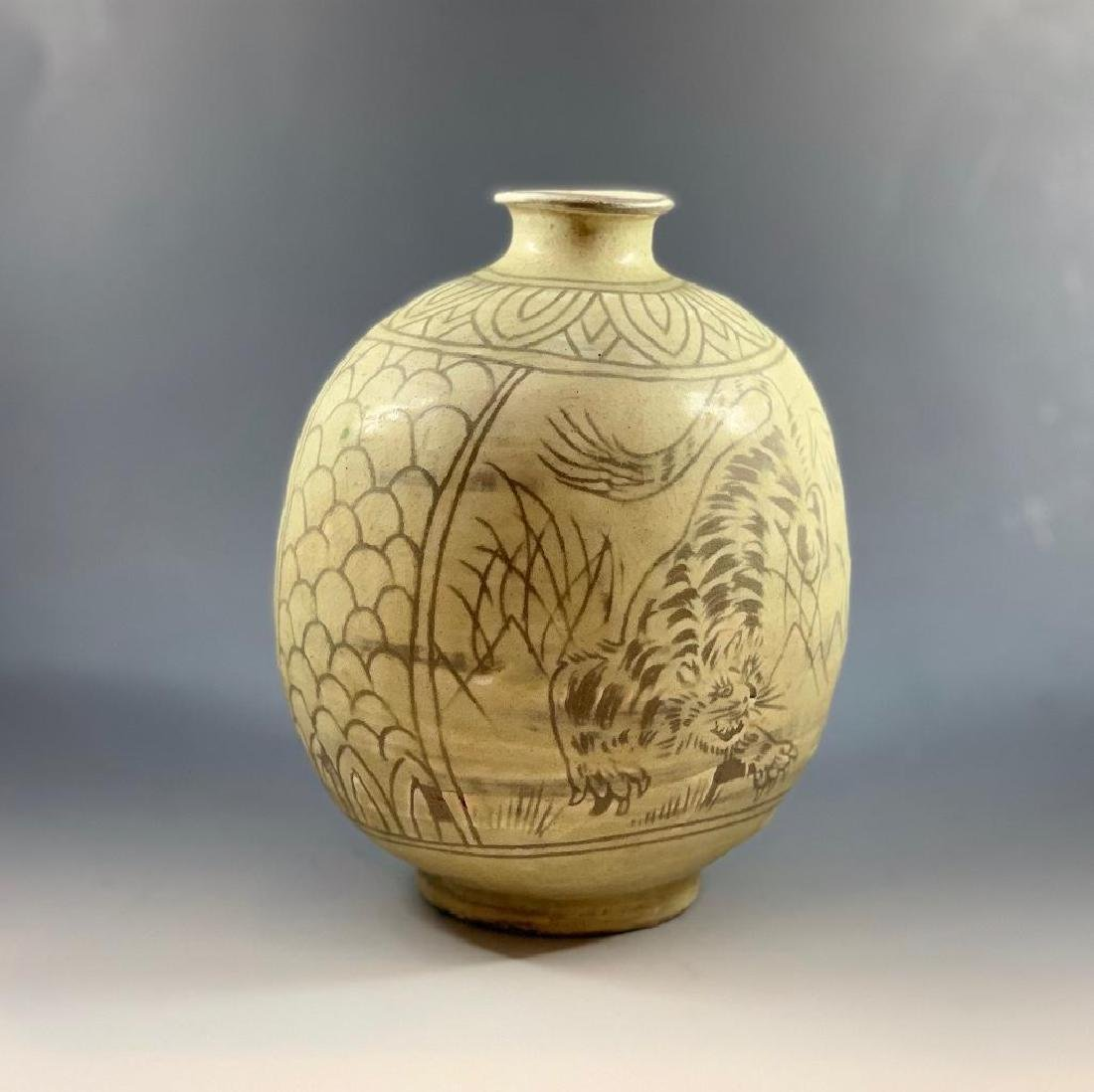 Korean Celadon Tiger Vase - 4