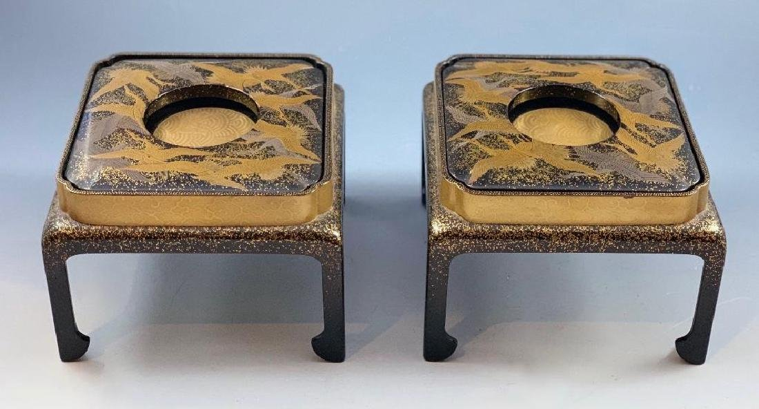 Pair of Japanese Lacquer Cup Stands