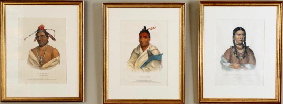 Three Framed McKenney Hall Folio Indian Portraits, ca.