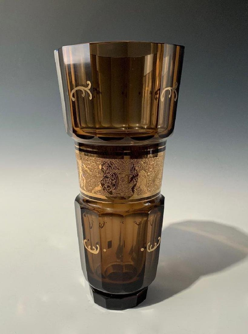 Large Moser Amber and Gilt Vase