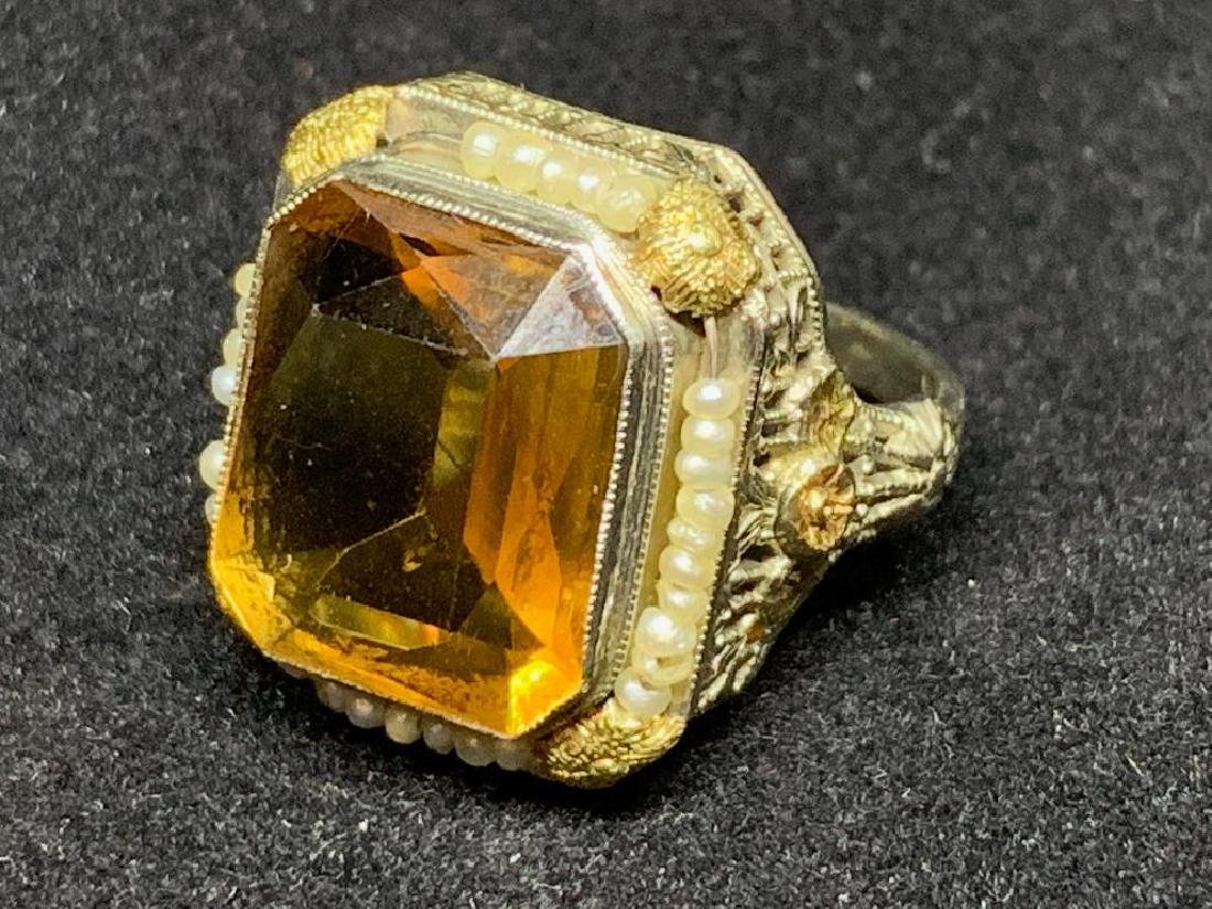 Citrine and Seed Pearl Ring, ca. 1920's