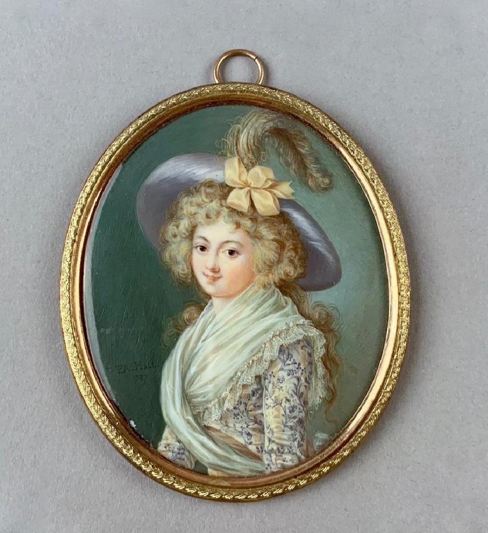 Fine Portrait miniature by Peter Pierre Adolph Hall
