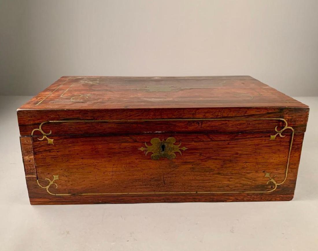 Rosewood Box Brass Inlay