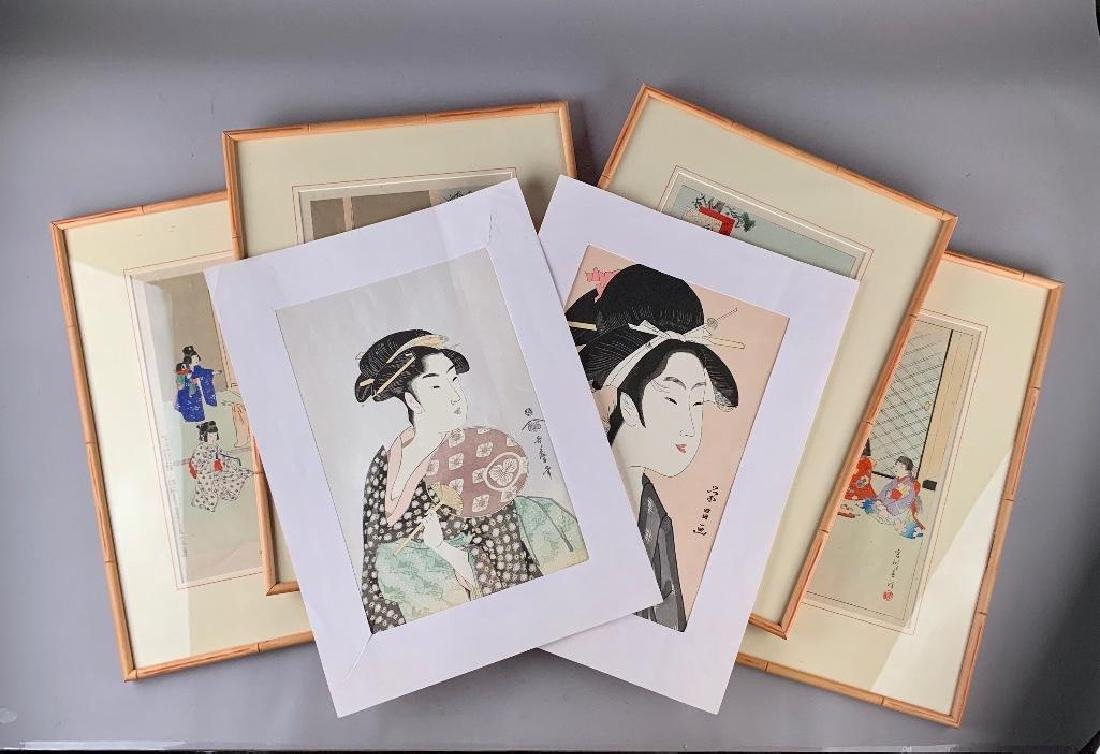 Framed Wood Block Prints by Miyagawa Shuntei