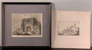 Two Engravings of Building incl. Franz Edmund Weirotter