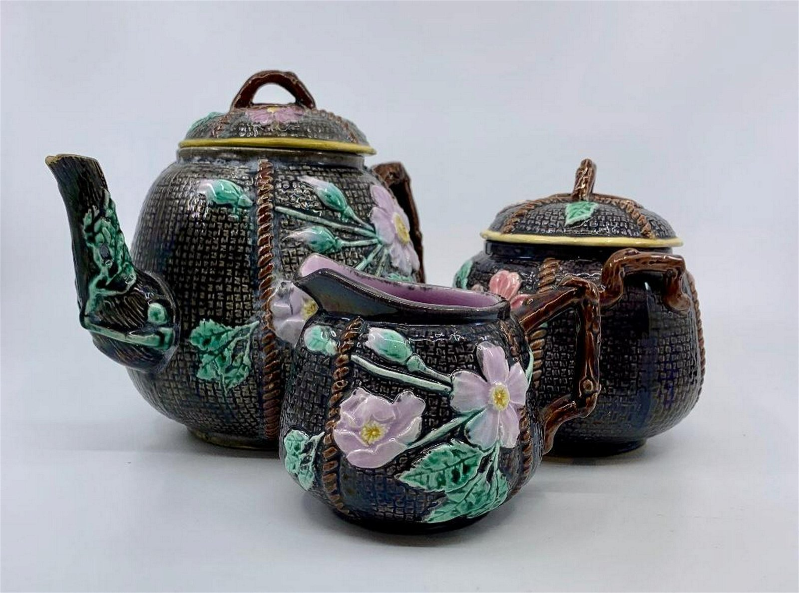 Majolica Wild Rose and Rope Three Piece Teaset