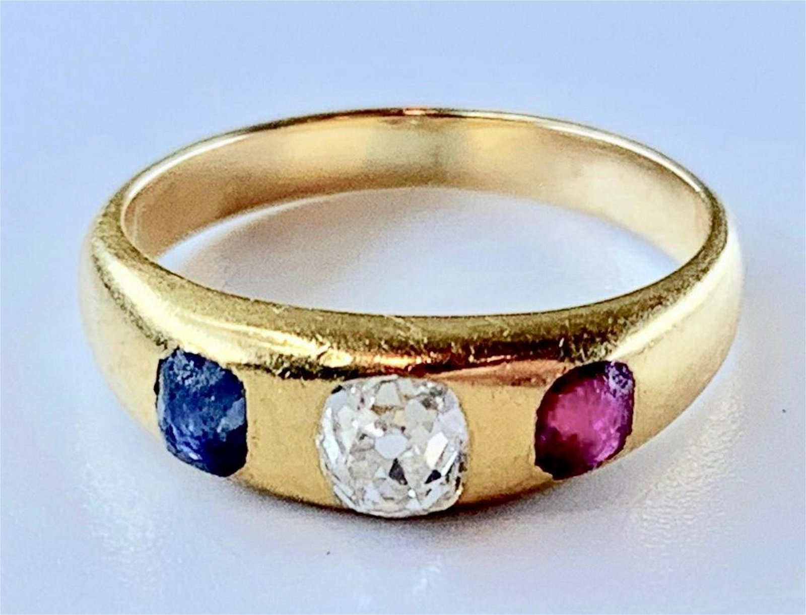 14K Yellow Gold, Diamond, Ruby and Sapphire Ring