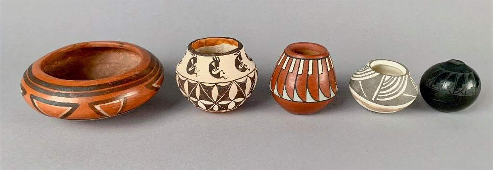 Five Native American Pottery Miniatures, Dolores Curran