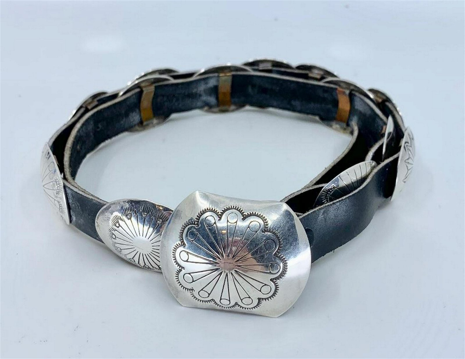 J. Wright Sterling Silver and Leather Concha Belt
