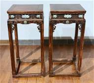 A Rare Pair of Chinese Carved Jade Mounted Plant Stands