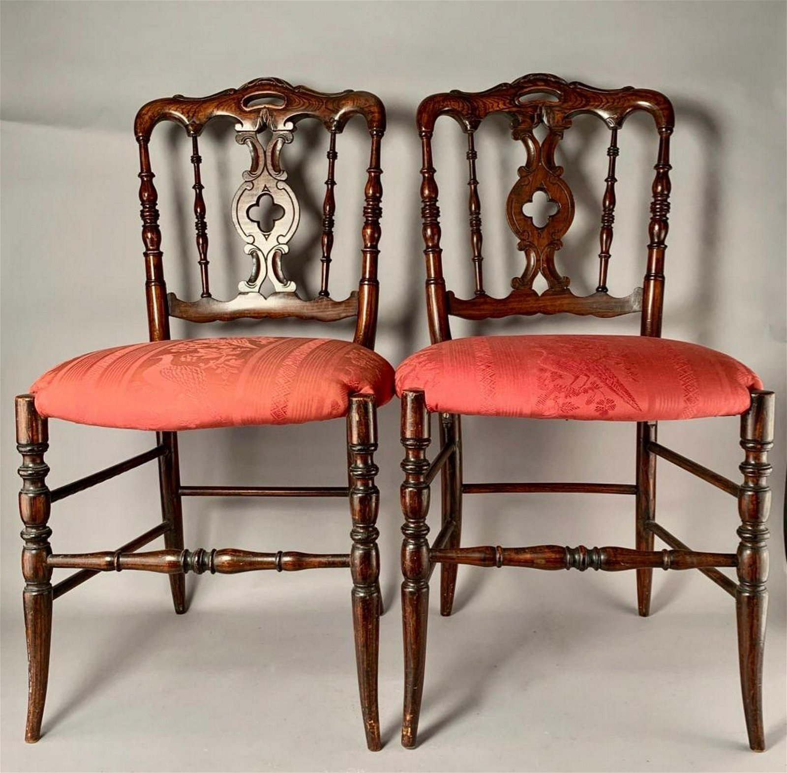 Pair of English Victorian Faux Bois Painted Side Chairs